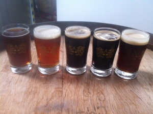 From L-R: Alt, IPA, Black IPA, Stout, Red Rye Saison w/ Chiles